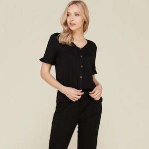 Cute Black Jumpsuit with Pockets! Nursing Friendly